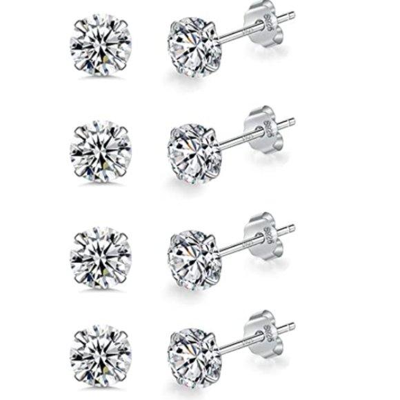 SET OF 4 925 STERLING SILVER DIAMOND STUD EARRINGS